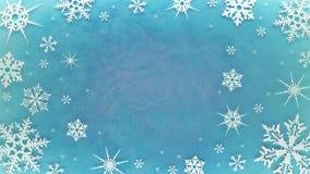 Snöflingor är rotera och bilda en cirkel på den iskalla roterande yttersidan