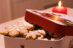 Snöflingor för julpepparkakakakor i asken arkivfoto