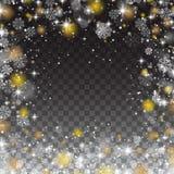 Snöflingor inramar, snöfallljus på genomskinlig bakgrund royaltyfri illustrationer