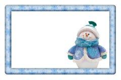 Snöflingor med snögubberamen för din meddelande eller inbjudan Arkivbilder