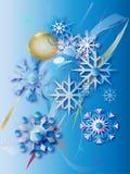 Snöflingor och guld- boll (en) Arkivfoto