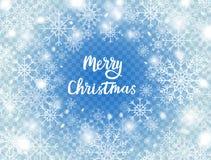 Snöflingor på blå genomskinlig bakgrund Glad julkort med snö och snöflingor vinter för blåa snowflakes för bakgrund vit Froststor Royaltyfria Bilder