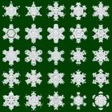 25 snöflingor på grön bakgrund Arkivbilder