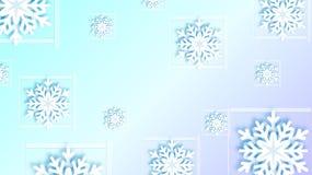 Snöflingor planlägger för vinter med ställetextutrymme Abstrakt snöflingabakgrund för pappers- hantverk hälsningkort för vinter royaltyfri illustrationer