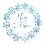 Snöflingor ram, glad jul som är oval royaltyfri illustrationer
