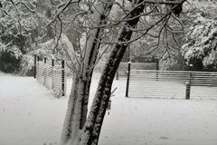 Snögård Fotografering för Bildbyråer