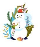 Snögubbe för byggnad för älvaSanta Claus assistent med morotnäsan royaltyfri illustrationer