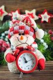 Snögubbe för nytt år och Chrismas Arkivbild