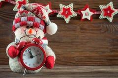 Snögubbe för nytt år och Chrismas Royaltyfria Foton