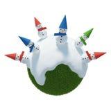 Snögubbe för vinterplanet 3D Royaltyfri Bild