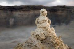Snögubbe från sandig John Blund arkivfoton
