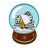Snögubbe, hus och träd i snöjordklot Arkivbilder