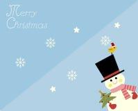 Snögubbe i glad julkort Arkivbilder