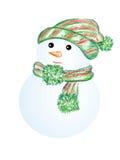 Snögubbe i grön hatt och halsduk Royaltyfri Bild