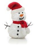 Snögubbe i röd hatt för Santa Claus xmas Arkivbild