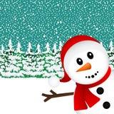 Snögubbe i skogen stock illustrationer