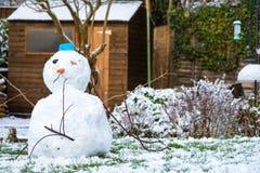 Snögubbe i tillbaka trädgård Royaltyfri Bild