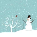 Snögubbe i vinter Arkivbilder