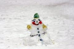 Snögubbe i vinter royaltyfri foto