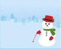 Snögubbe i vinterbakgrunden Royaltyfri Foto