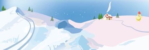 Snögubbe i vinterlandskap med stugor royaltyfri foto