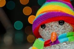 Snögubbe/leksak/ljusbokeh Fotografering för Bildbyråer