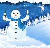 Snögubbe med champagne Arkivfoto
