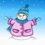 Snögubbe med den blåa hatten Royaltyfri Foto