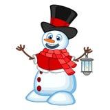 Snögubbe med en lykta och att bära en hatt, en röd tröja och en röd halsduk för din designvektorillustration vektor illustrationer