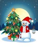 Snögubbe med en lykta och att bära en Santa Claus dräkt med julgranen och fullmånen på nattbakgrund för din design Vec stock illustrationer