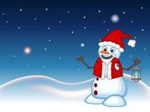 Snögubbe med en lykta och att bära en Santa Claus dräkt med stjärna-, himmel- och snökullebakgrund för din designvektor Illustrat vektor illustrationer