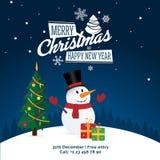 Snögubbe med gåvor och julträd och tecken - glad jul och det lyckliga nya året festar banret, hälsningskort Royaltyfri Fotografi