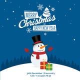 Snögubbe med gåvor och tecknet - glad jul och det lyckliga nya året festar banret, hälsningskort Arkivfoton