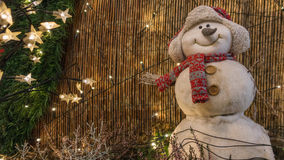 Snögubbe med halsduken och locket Royaltyfri Fotografi