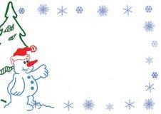 Snögubbe med snöflingor 1 Arkivfoto