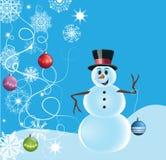 Snögubbe med snöflingor och garneringar Royaltyfria Foton