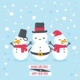 Snögubbe med vinterbakgrund Vektor Illustrationer