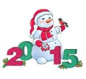 Snögubbe och 2015 Arkivfoto