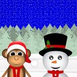 Snögubbe och en apa royaltyfri illustrationer