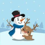 Snögubbe och hjortar i snöberg royaltyfri illustrationer