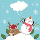 Snögubbe och hjortar med himmel som är ljus i juldag stock illustrationer