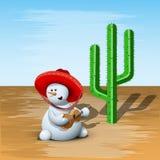 Snögubbe och kaktus Royaltyfri Foto