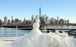 Snögubbe och NYC Royaltyfria Foton