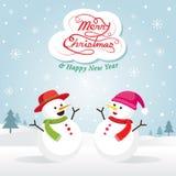 Snögubbe och Snowgirl, jul Vektor Illustrationer
