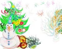 Snögubbe och spring runt om att släpa en släde mycket av gåvor och vänner Royaltyfria Foton