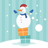 Snögubbe på gåvaasken Royaltyfri Illustrationer