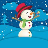 Snögubbe på snön Arkivfoto