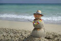 Snögubbe på stranden Arkivfoton