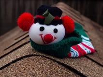Snögubbe på taket Royaltyfria Bilder