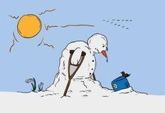 Snögubbe på vårtid Arkivfoton